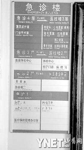 """医院指示牌遭恶搞字被修改 """"一层""""变""""一尸"""""""