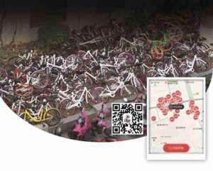 医院门口单车成山 市民:没见过堆得这么高的单车,摞上去也是个技术活